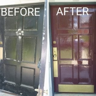 Complete removal of old paint, and re-paint of front door.