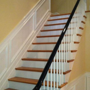 Detailed Painting of Handrail, spindles and stairway.