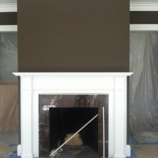 Mantle and accent wall.